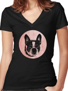 Retro Bulldog Women's Fitted V-Neck T-Shirt