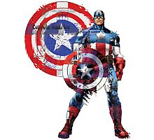 Captain America Gridwork and Logo Photographic Print