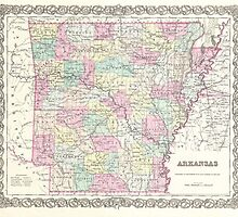 Vintage Map of Arkansas (1855)  by BravuraMedia