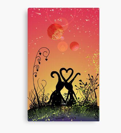 Two lovebirds on Ravlekkah Canvas Print