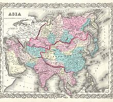 Vintage Map of Asia (1855)  by BravuraMedia