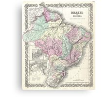Vintage Map of Brazil (1855) Canvas Print