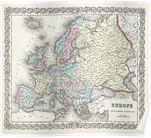 Vintage Map of Europe (1855)  Poster