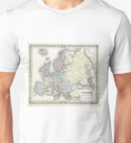 Vintage Map of Europe (1855)  Unisex T-Shirt