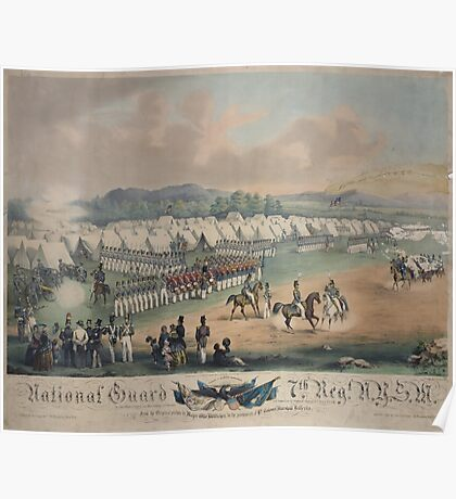 314 National Guard trophy of flags etc with Colonel A Duryee commandant 7th Regt NYSM at Camp Worth Kingston July 1855 forming for review and inspection by Inspector General B F Poster