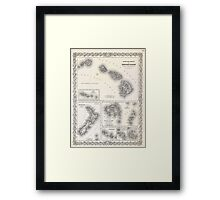 Vintage Map of Hawaii and New Zealand (1855) Framed Print