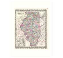 Vintage Map of Illinois (1855)  Art Print