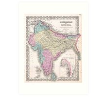 Vintage Map of India (1855) Art Print