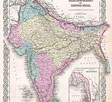 Vintage Map of India (1855) by BravuraMedia