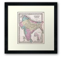 Vintage Map of India (1855) Framed Print