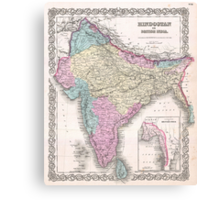 Vintage Map of India (1855) Canvas Print