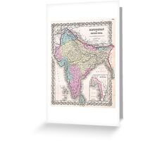 Vintage Map of India (1855) Greeting Card