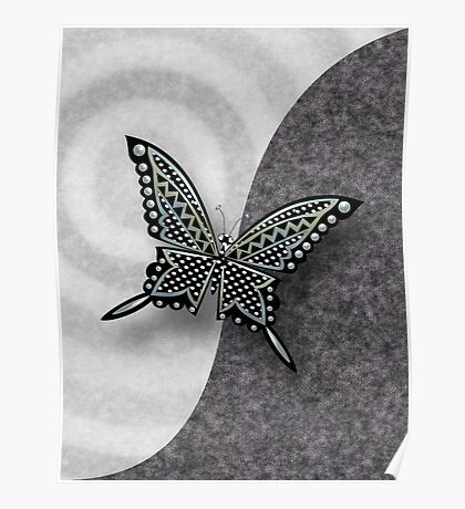 BLACK SILVER BUTTERFLY 116 ABSTRACT. Poster