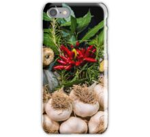Garlic and other typical autumn vegetables in a basket iPhone Case/Skin