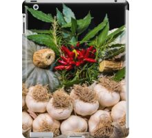 Garlic and other typical autumn vegetables in a basket iPad Case/Skin