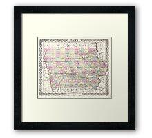 Vintage Map of Iowa (1855) Framed Print