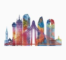 Dallas landmarks watercolor poster One Piece - Long Sleeve