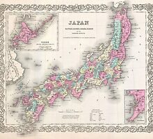 Vintage Map of Japan (1855) by BravuraMedia