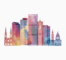 Denver landmarks watercolor poster Kids Tee