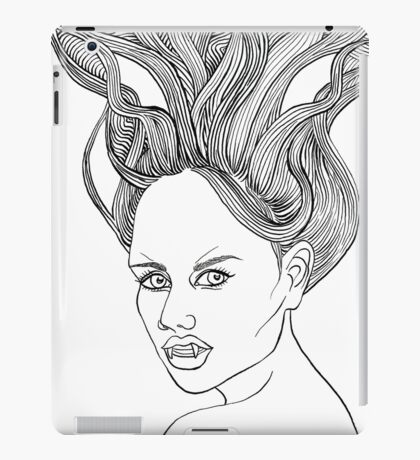 Halloween Vampire Girl Ink Drawing iPad Case/Skin