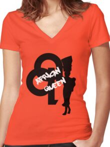 African Queen Women's Fitted V-Neck T-Shirt