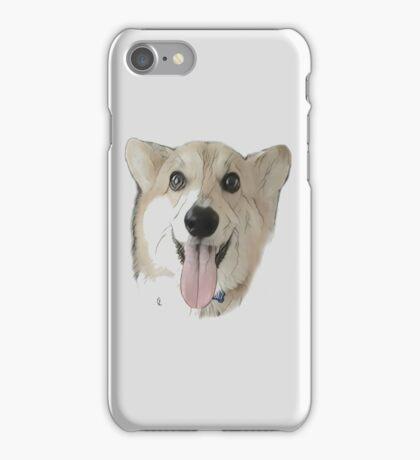 Happy corgi - White / silver iPhone Case/Skin