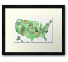 United States Map - Green Framed Print