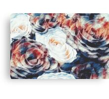 Roses print in retro drawing style watercolor digital Canvas Print