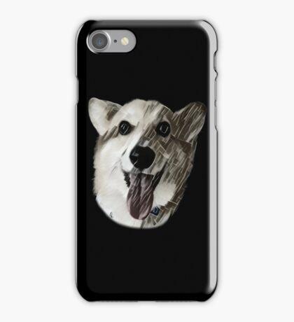 Happy corgi - Black iPhone Case/Skin
