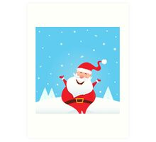 Happy Santa Claus with falling snow and trees Art Print
