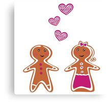 Vector Gingerbread People - Couple isolated on white Canvas Print