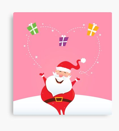 Santa juggling with christmas gifts and making big heart Canvas Print