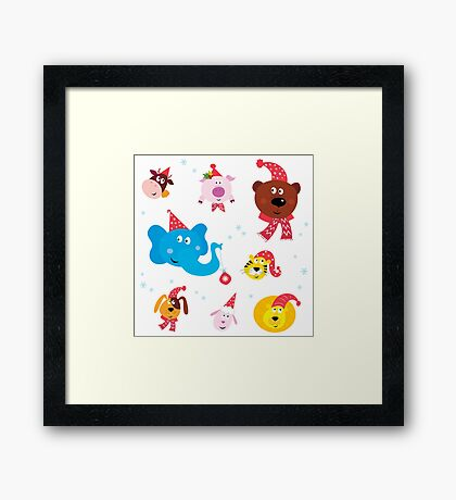 Cute animal icons with red Santa hats isolated on white Framed Print