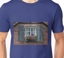 Rustic Window and Red Bricks Wall Unisex T-Shirt