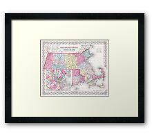 Vintage Massachusetts and Rhode Islands Map (1855) Framed Print