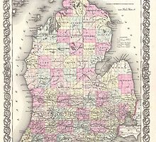 Vintage Map of Michigan (1855) by BravuraMedia