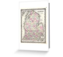 Vintage Map of Michigan (1855) Greeting Card