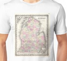 Vintage Map of Michigan (1855) Unisex T-Shirt