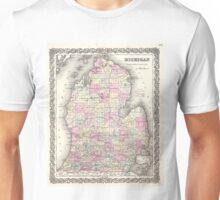 Vintage Map of Michigan (1855) Unisex T-Shirt