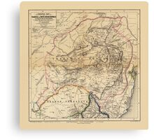 Map Of South Africa 1875 Canvas Print