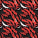 Graphic pattern red leaves by Tanor