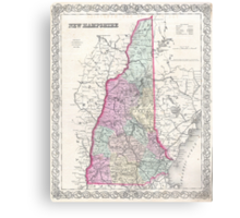 Vintage Map of New Hampshire (1855) Canvas Print