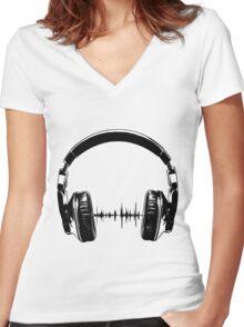 Headphones - Black Women's Fitted V-Neck T-Shirt