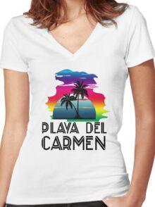Playa del Carmen Women's Fitted V-Neck T-Shirt