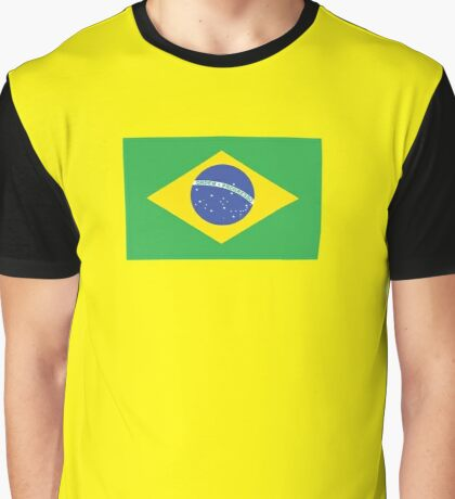 BRAZIL, BRAZILIAN FLAG, FLAG OF BRAZIL, PURE & SIMPLE, Brazil, Football, Soccer, Olympics, on Yellow Graphic T-Shirt