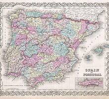 Vintage Map of Spain (1855)  by BravuraMedia
