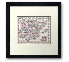 Vintage Map of Spain (1855)  Framed Print
