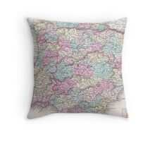 Vintage Map of Spain (1855)  Throw Pillow