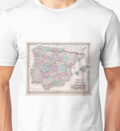 Vintage Map of Spain (1855)  Unisex T-Shirt