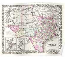 Vintage Map of Texas (1855)  Poster